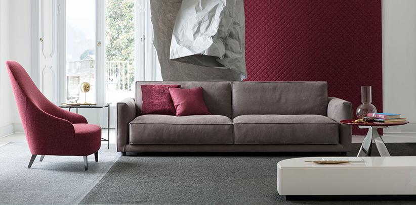 sofá de piel nobuk resistente al agua Ribot