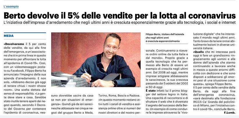 BertO dona el 5% de sus ventas a la lucha contra el COVID-19